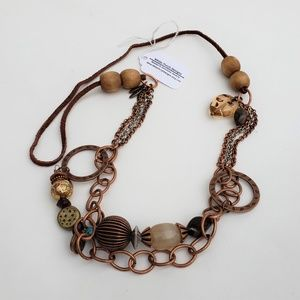 Mixed Metal Wood Leather Beaded Necklace